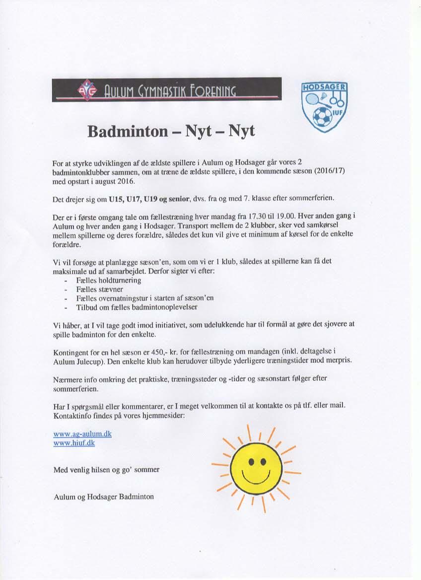 badminton fælles AG HIUF